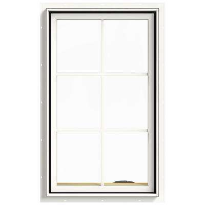 24 in. x 40 in. W-2500 Series White Painted Clad Wood Right-Handed Casement Window with Colonial Grids/Grilles
