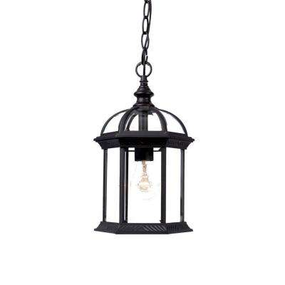 Dover Collection 1-Light Matte Black Outdoor Hanging Lantern