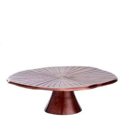 "14-1/2 in. D Antique Copper ""Lily Pad"" Cake Stand"
