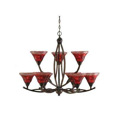 Concord 9-Light Black Copper Chandelier with Raspberry Crystal Glass