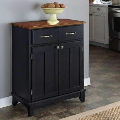 Black and Cottage Oak Buffet with Storage