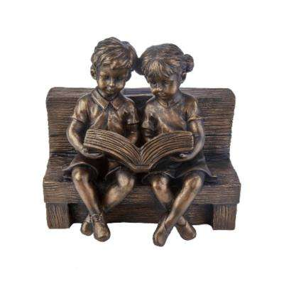 9.7 in. H Reading Boy and Girl Solar Statue