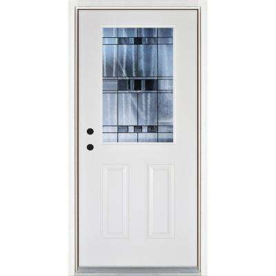 36 in. x 80 in. Savana 1/2 Classic Lite Smooth White Right-Hand Inswing Finished Fiberglass Prehung Front Door