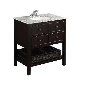 Burnaby 30 in. Vanity in Espresso Brown with Granite Vanity Top in Dappled Grey and Under-Mounted Oval Sink