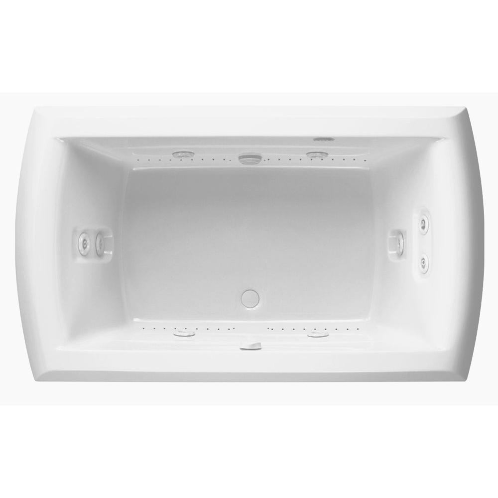 Riviera Motif 6 ft. Center Drain Whirlpool/Air Bath Tub with Heater