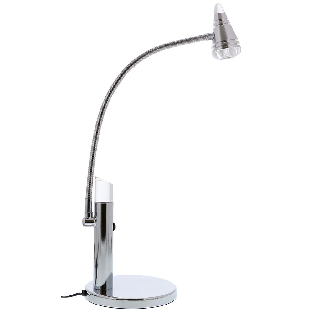 21-1/2 in. Adjustable Gooseneck Silver LED Desk & Accent Lamp, Metal and Acrylic