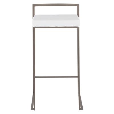 Fuji 30 in. Antique Stackable Bar Stool with White Velvet Cushion (Set of 2)