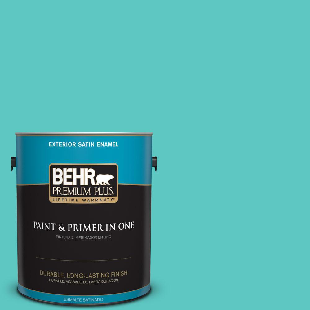 1-gal. #490B-4 Sea Life Satin Enamel Exterior Paint