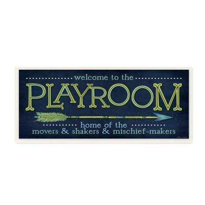 """7 in. x 17 in. """"Playroom Home Of Mischief Makers Blue"""" by Stephanie Workman Marrott Printed Wood Wall Art"""