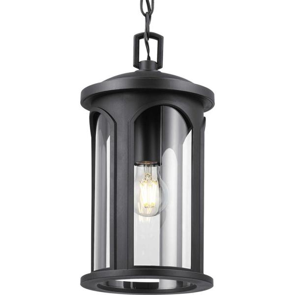 Faywood 1-Light Matte Black Outdoor Pendant Light with Clear Glass