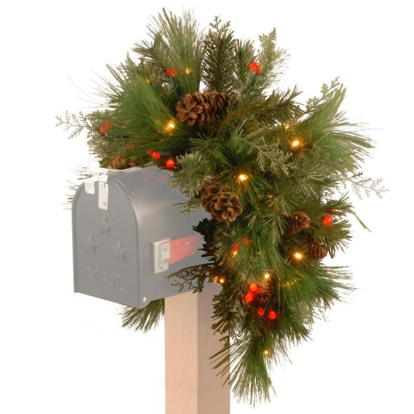 36 in. Decorative Collection White Pine Mailbox Swag with Battery Operated Warm White and Red LED Lights