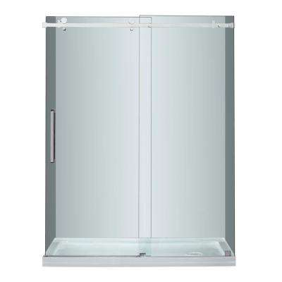 Moselle 60 in. x 77-1/2 in. Completely Frameless Sliding Shower Door in Stainless Steel with Right Base