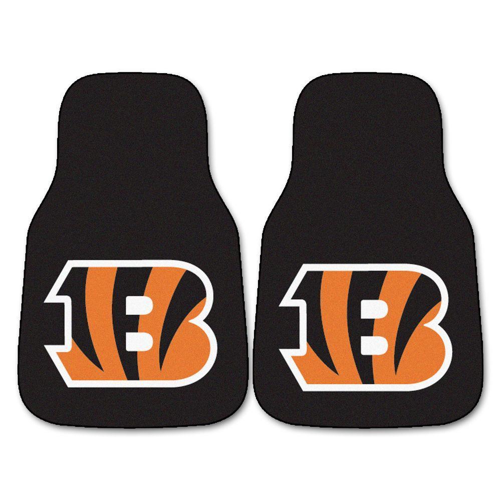 Cincinnati Bengals 18 in. x 27 in. 2-Piece Carpeted Car Mat Set