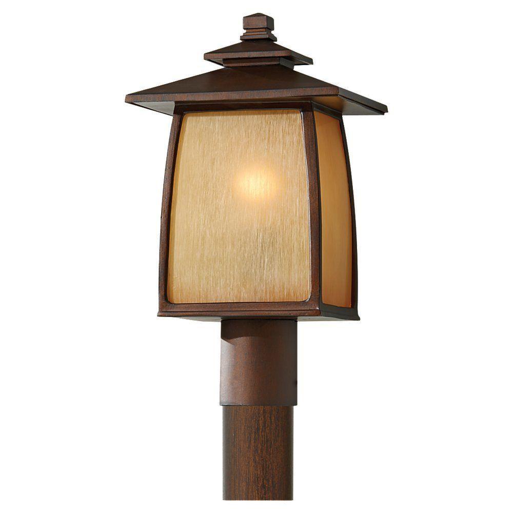 Wright House 1-Light Sorrel Brown Outdoor Post Light