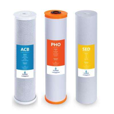 Whole House Anti Scale Filter Set 3 Stage Filtration Water Conditioner Sediment, Carbon, Polyphosphate 4.5 x 20