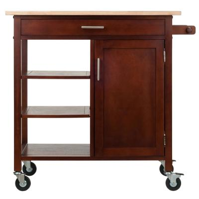 Marissa Walnut Kitchen Cart with Towel Rack