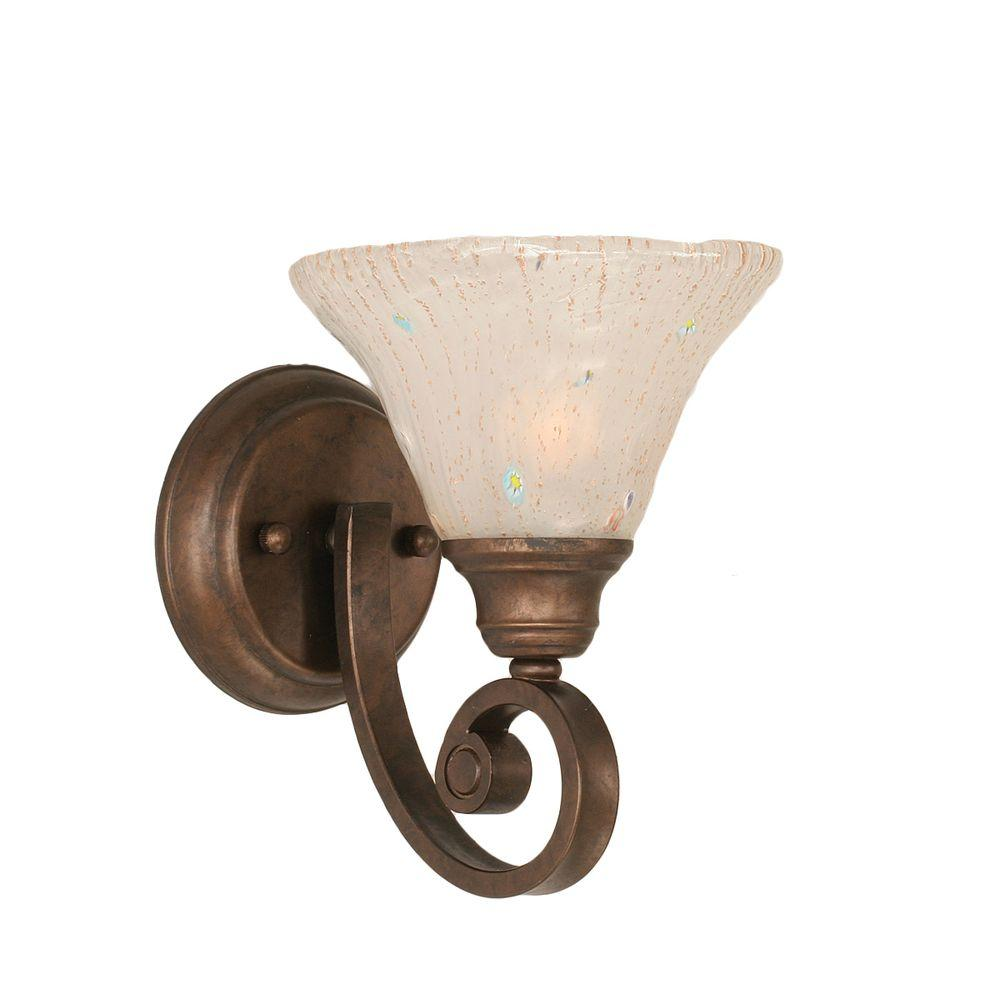 Abell 1-Light Bronze Sconce with Frosted Crystal Glass