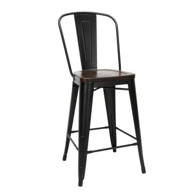 """161 Collection Industrial Modern 4 Pack 26"""" High Back Metal Bar Stools with Solid Ash Wood Seats, in Black/Walnut"""