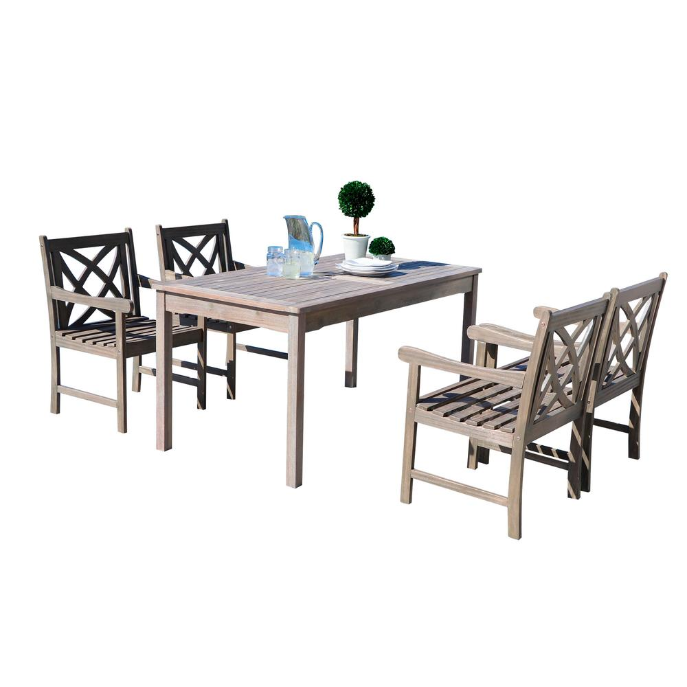 Vifah Renaissance 5-Piece Rectangle Patio Dining Set