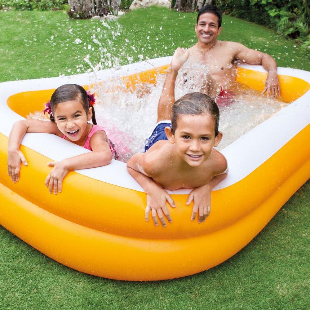 Intex 90 in. x 58 in. x 18 in. D Rectangular Mandarin Swim Center  Inflatable Swimming Pool in Orange