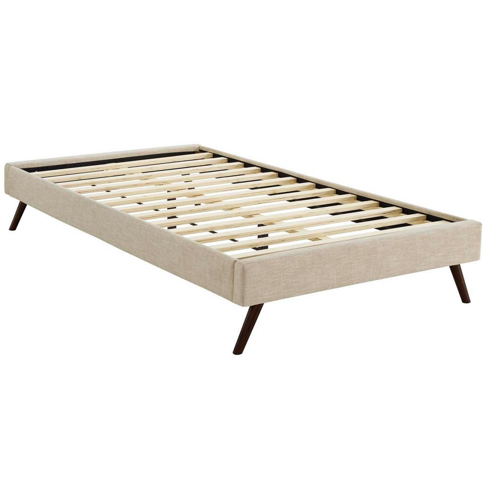 ff9903461ac2a MODWAY Loryn Beige Twin Bed Frame with Round Splayed Legs-MOD-5887-BEI -  The Home Depot