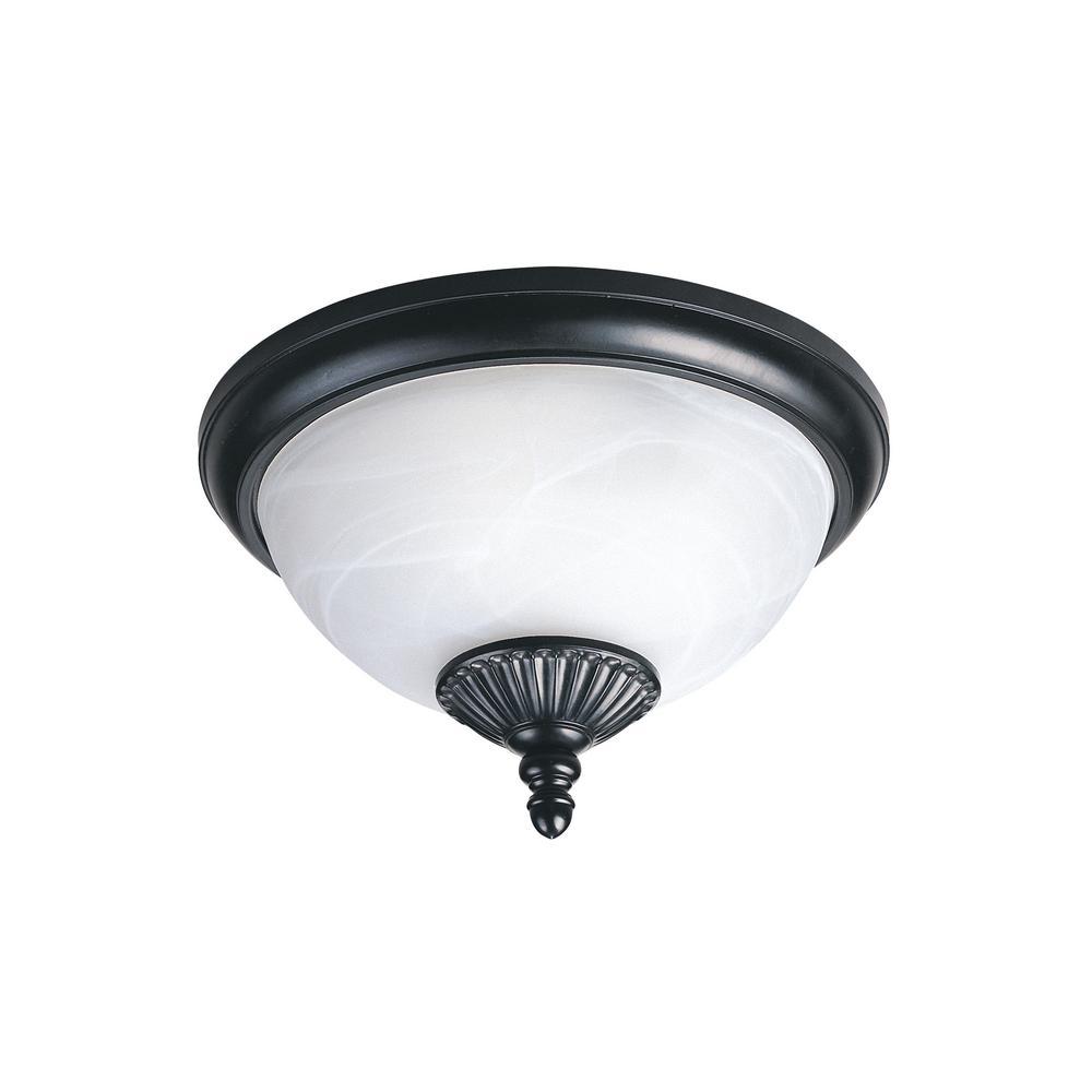 Yorktown Black 2-Light Outdoor Flush Mount with LED Bulbs