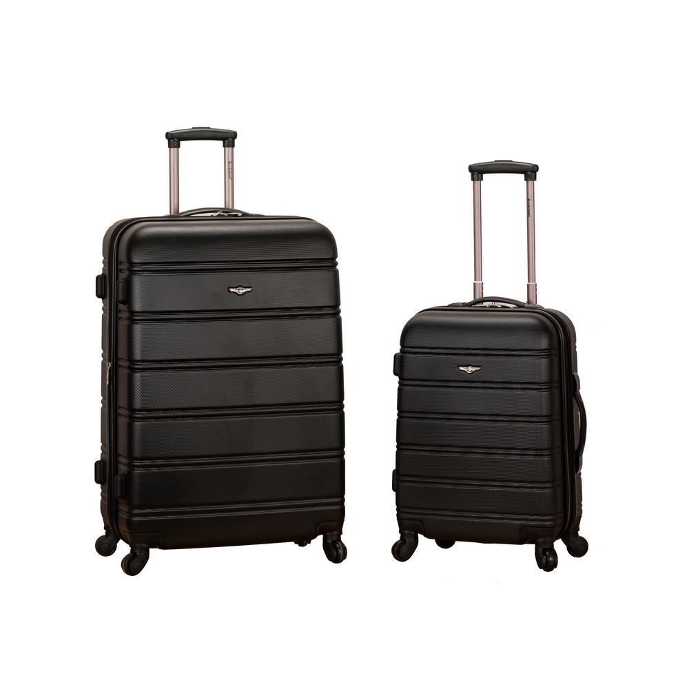 Rockland Melbourne Expandable 2-Piece Hardside Spinner Luggage Set, Black
