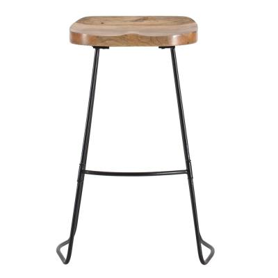 Romboss 30 in. Black and Natural Wood Saddle Seat Bar Stool