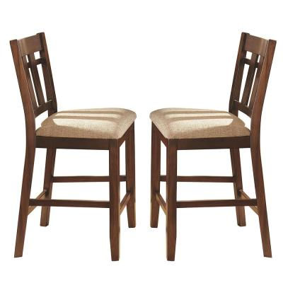 Bolton 42 in. Brown Counter Chair (Set of 2)