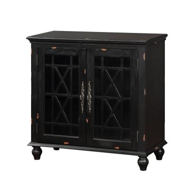 Harper's Branch Aged Black Accent Cabinet with Framed Doors
