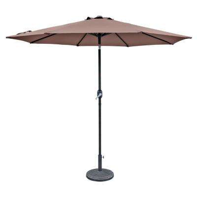 Trinidad 9 ft. Aluminum Market Tilt Patio Umbrella in Coffee Polyester