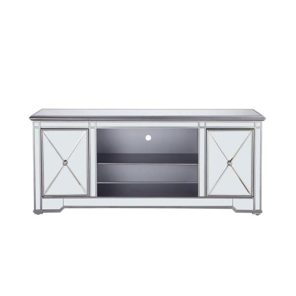 Timeless Home 60 in. TV Stand/Stand in Antique Silver with 2-Storage Doors Fits 60 in. TV