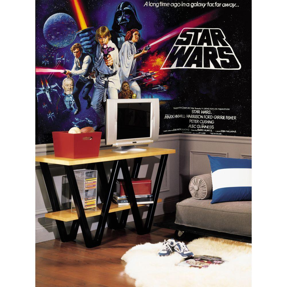 null Star Wars Classic Chair Rail Prepasted Mural 6 ft. x 10.5 ft. Ultra-strippable Wall Applique