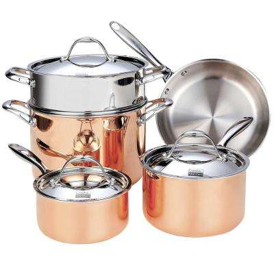 8-Piece Copper Cookware Set with Lids