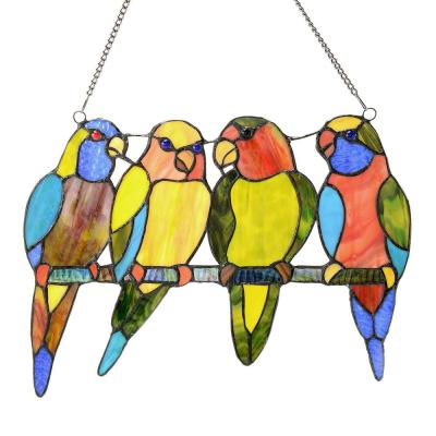 Multi Stained Glass Tropical Birds Window Panel