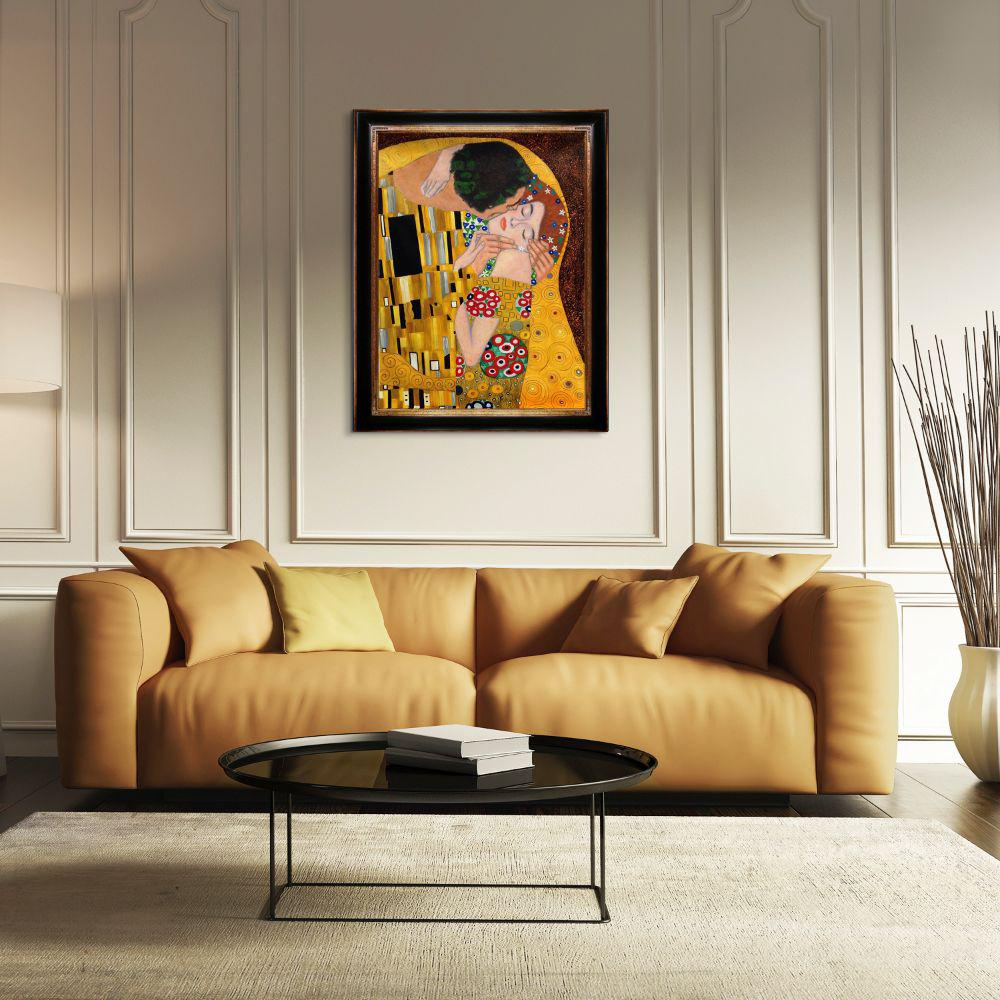 LA PASTICHE 49 in. x 39 in. The Kiss (Luxury Line) with Opulent Frame by Gustav Klimt Framed Wall Art, Multi-Colored was $1523.0 now $715.91 (53.0% off)