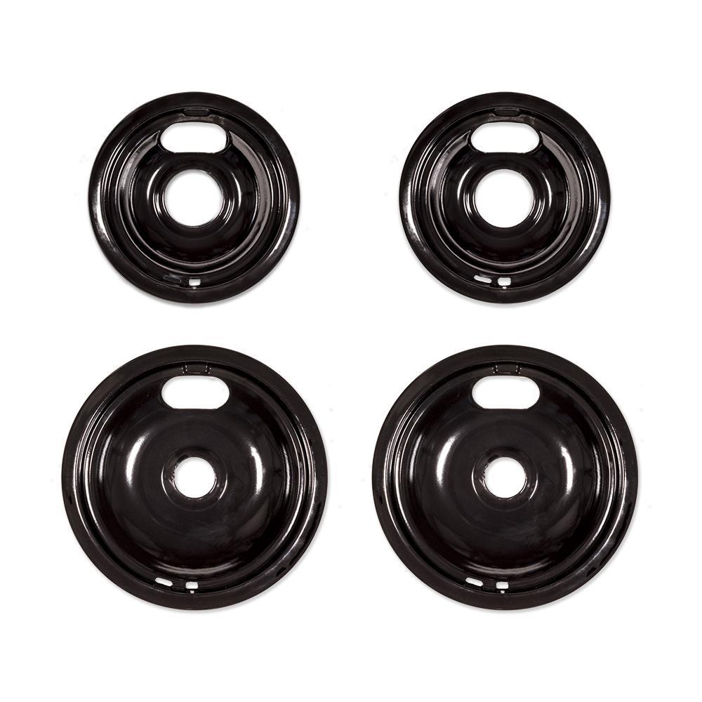 Universal Black Porcelain Drip Bowl for Electric Ranges (4-Pack)
