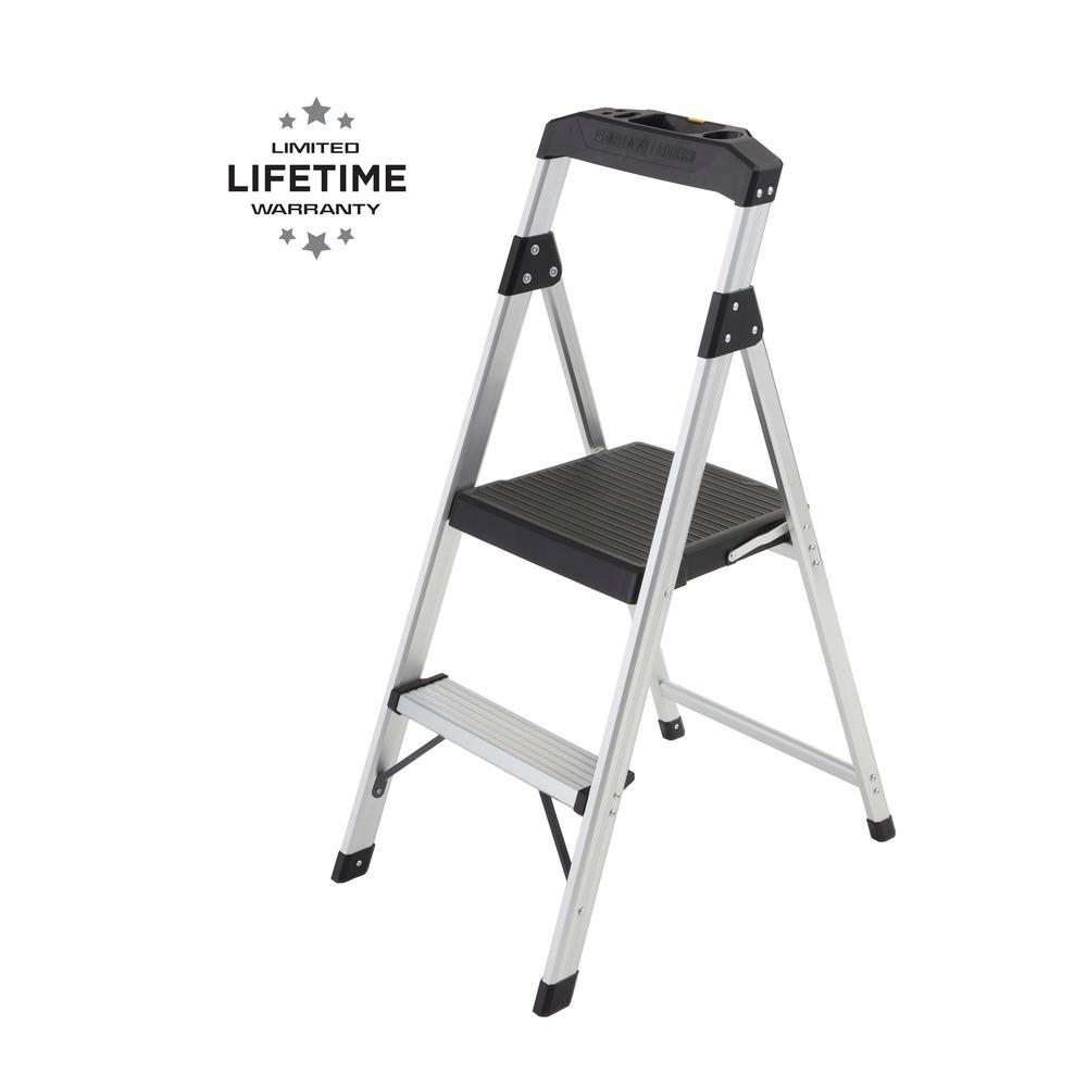 2-Step Aluminum Step Stool Ladder, 250 lbs. Type I Duty Rating