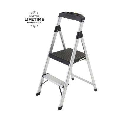 2-Step Aluminum Step Stool Ladder, 250 lbs. Type I Duty Rating