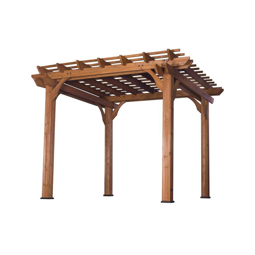 Backyard Discovery 10 ft. x 10 ft. Cedar Pergola, Browns/...