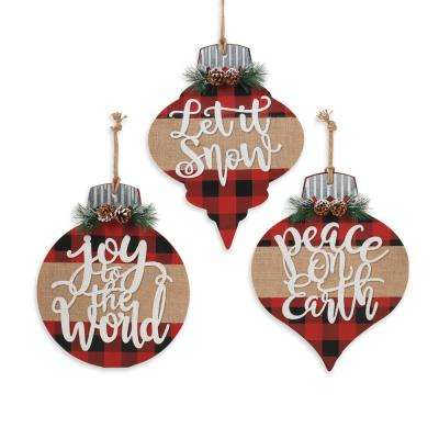 Assorted Wood Holiday Ornament (Set of 3)