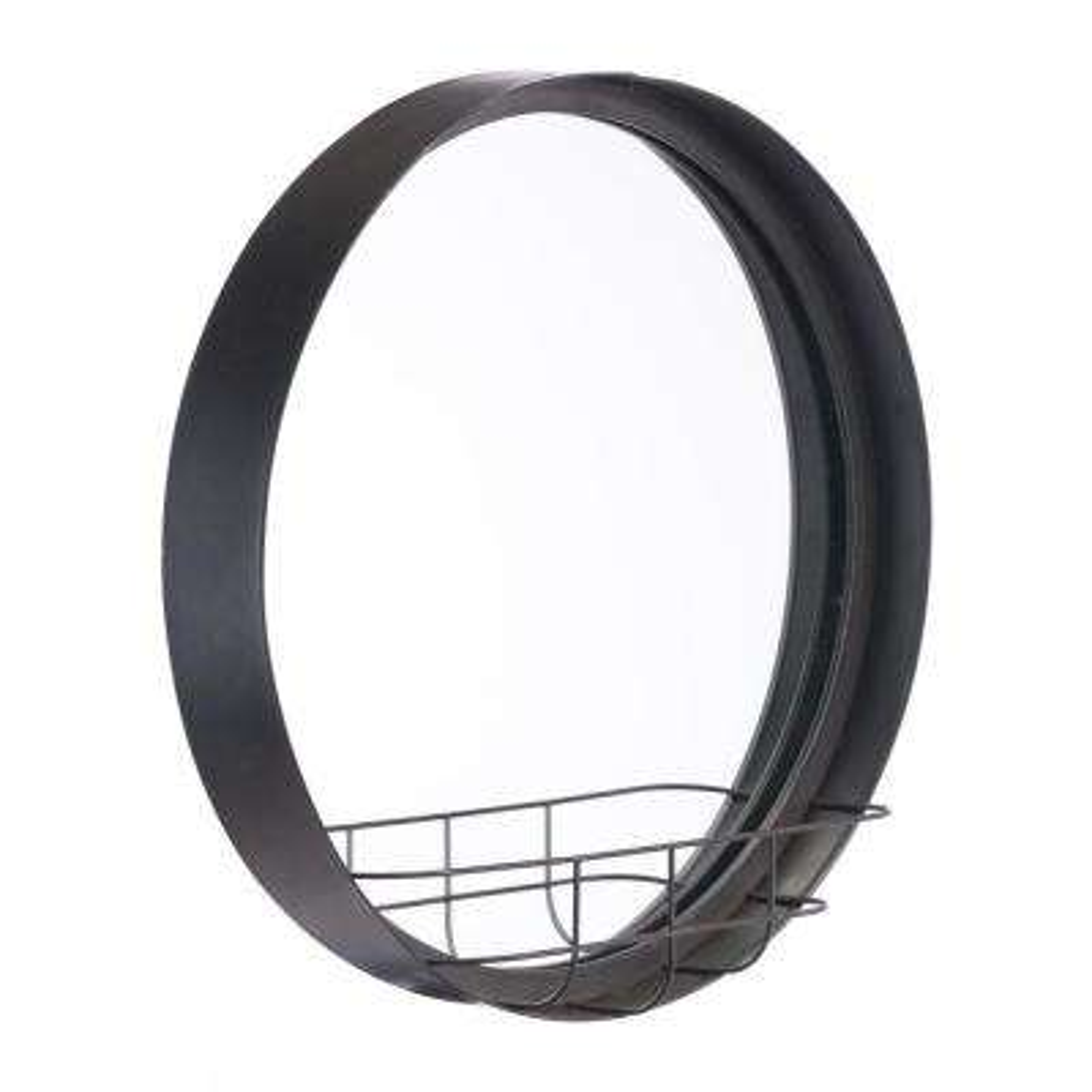 Round Antique Black Large Wall Mirror Shelf