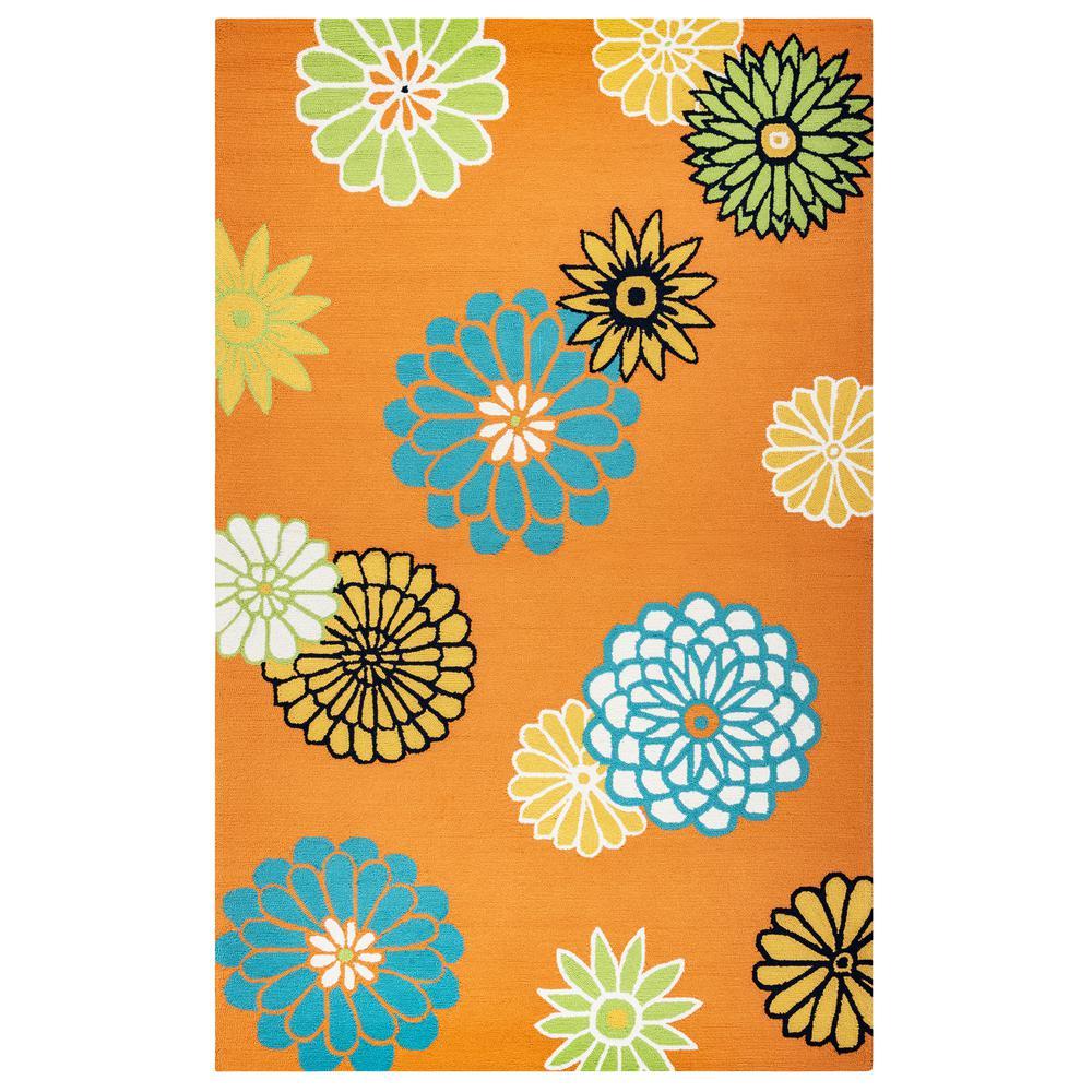 Azzura Hill Orange Floral 5 ft. x 7 ft. 6 in. Indoor/Outdoor Area Rug