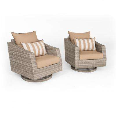 Cannes 2-Piece All-Weather Wicker Patio Deluxe Motion Club Chair Seating Set with Maxim Beige Cushions