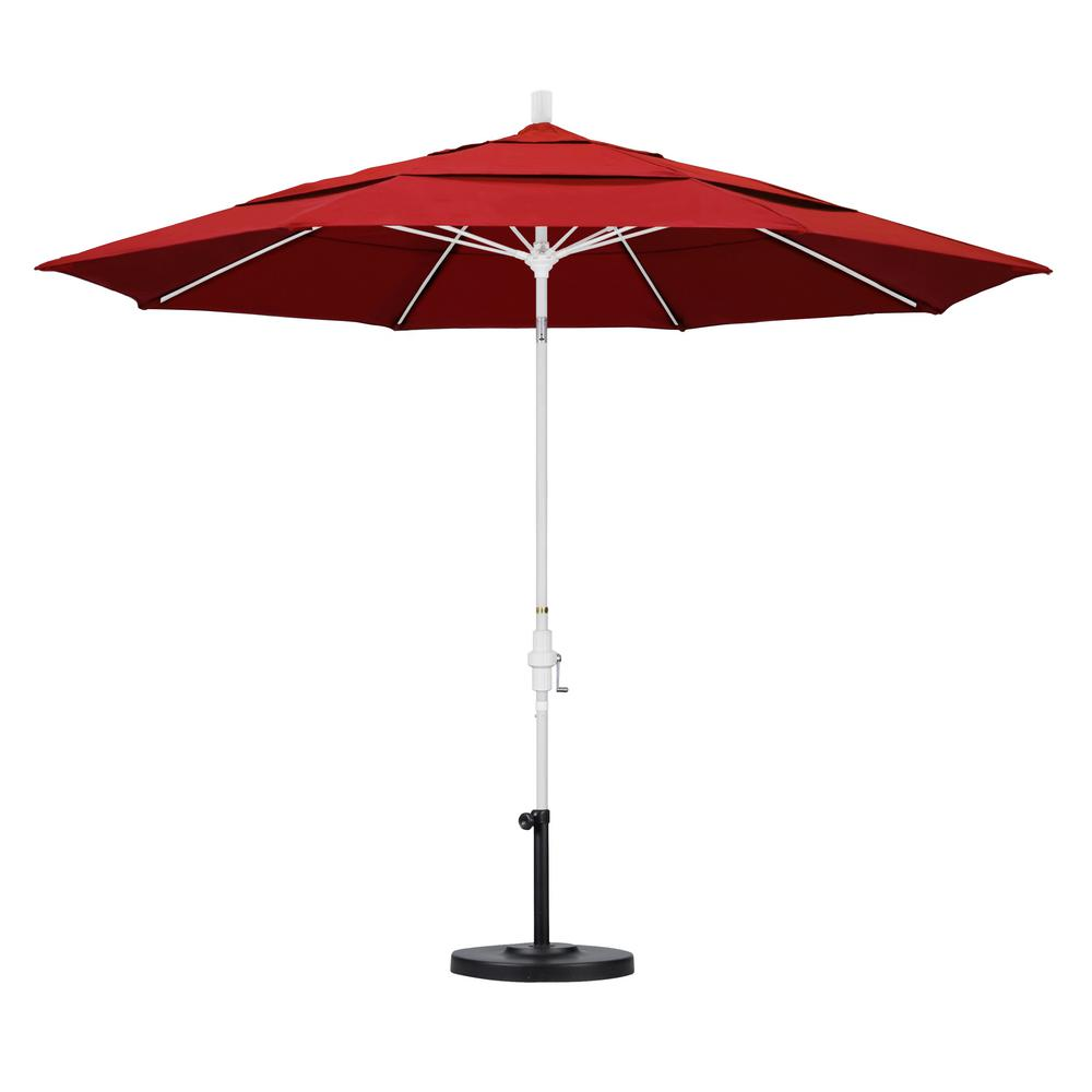 11 ft. Fiberglass Collar Tilt Double Vented Patio Umbrella in Red