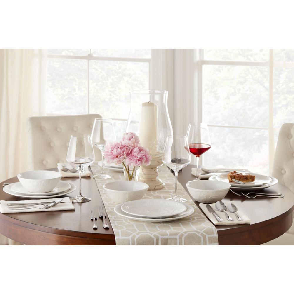 Ophelia 16-Piece White Stoneware Dinnerware Set (Service for 4)