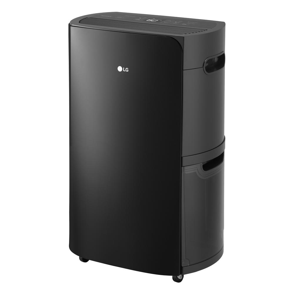LG PuriCare 2019 Energy Star 50-Pint Dehumidifier with Built-In Vertical Pump and Wi-Fi in Black - Black