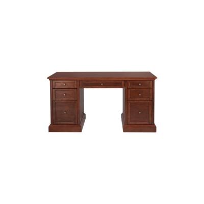 61 in. Rectangular Brown 7 Drawer Executive Desk with Solid Wood Material