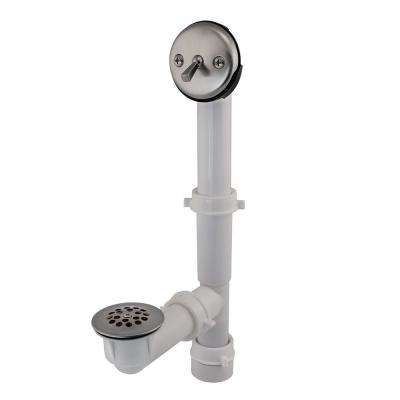 Trip Lever 1-1/2 in. White Poly Pipe Bath Waste and Overflow Drain in Brushed Nickel