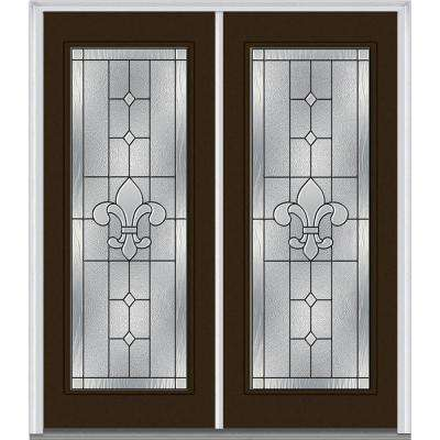 carrollton decorative glass full lite painted fiberglass smooth exterior - Exterior Double Doors